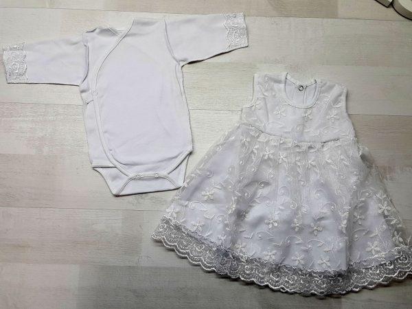 Комплект платье кружевное с боди белые