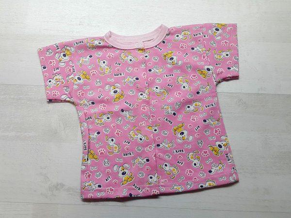 Кофта на кнопках с коротким рукавом розовая