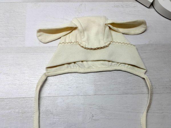 Чепчик-шапочка с ушками бежевая