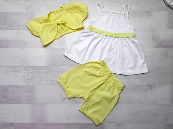 Комплект сарафан, болеро, штанишки желтый