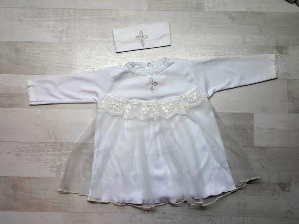 Платье крестильное с повязкой белое