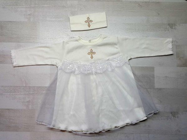 Платье крестильное с повязкой бежевое