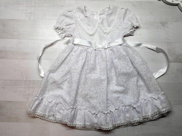 Платье с атласной лентой белое