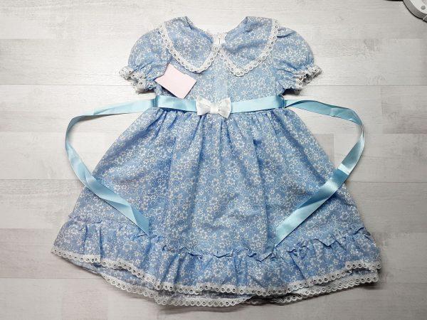 Платье с атласной лентой голубое