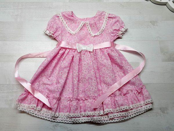 Платье с атласной лентой розовое