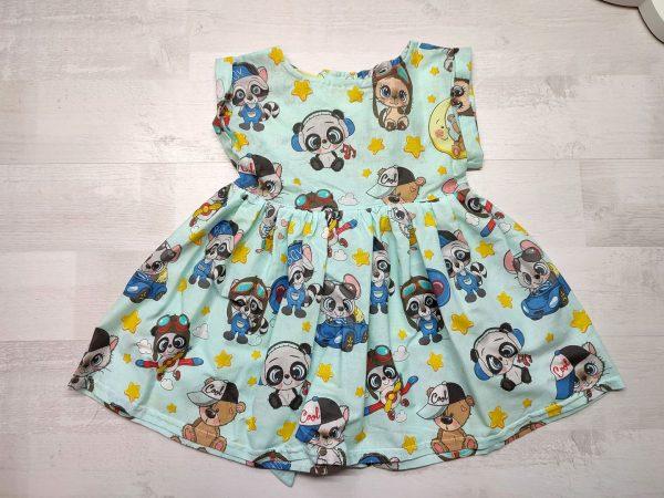 Платье с поясом голубое