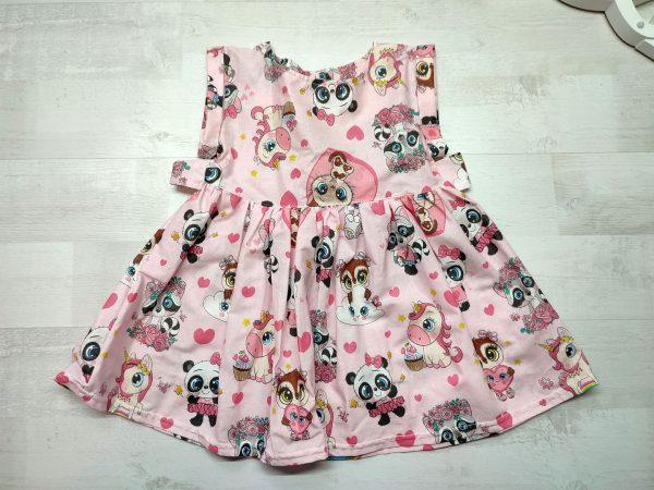 Платье с поясом розовое