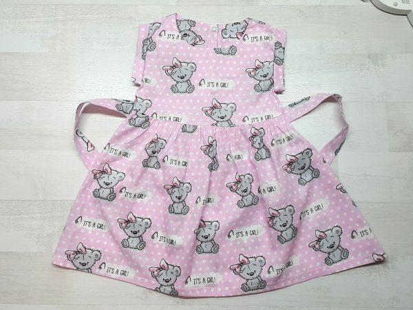 Платье с поясом розовое с мишками