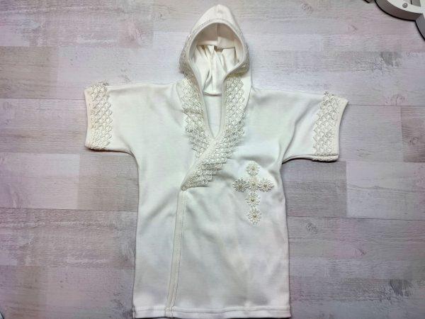 Крестильная рубашка с капюшоном бежевая