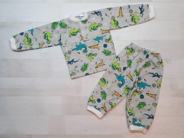 Детская пижама на кнопках кулирка серые динозавры