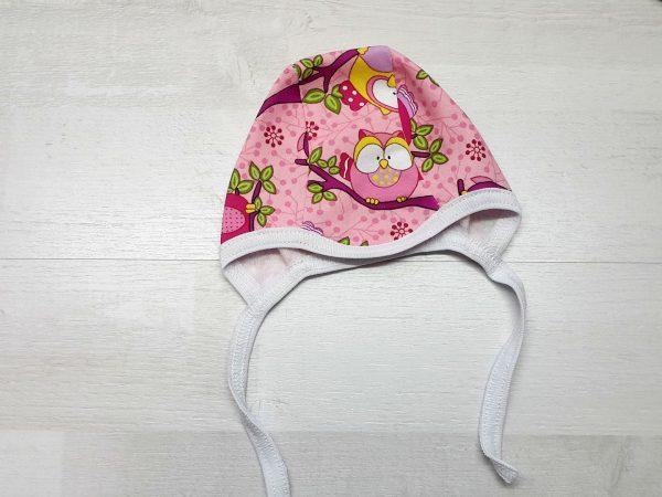 Чепчик на завязках футер розовый с совами