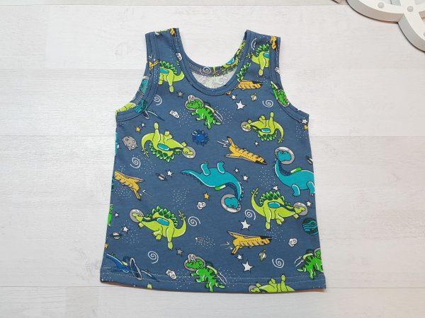 Маечка детская для мальчика синяя с динозаврами