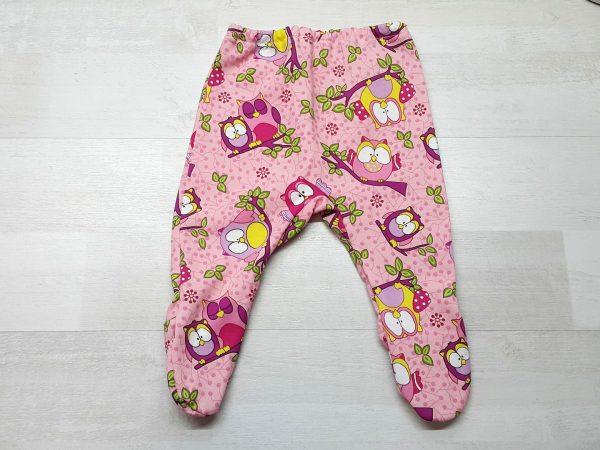 Ползунки для малышей тёплые розовые с совами