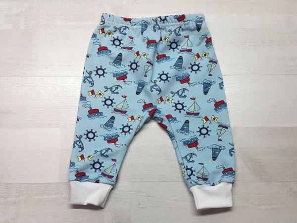Штаны с ластовицей для малышей тёплые голубые с кораблями