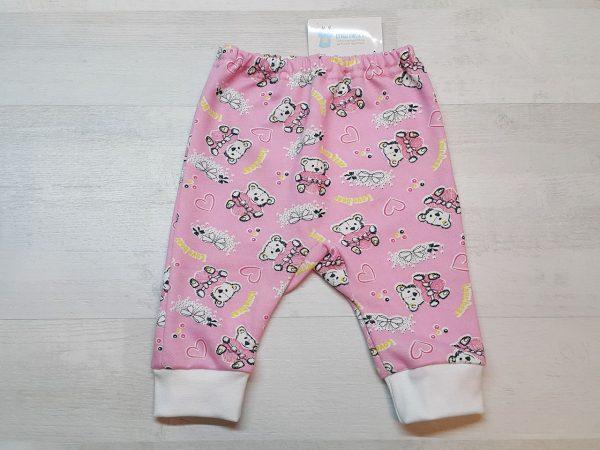 Штаны с ластовицей для малышей тёплые розовые