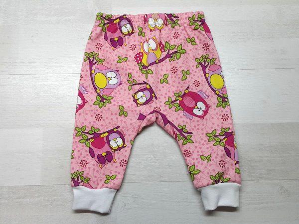 Штаны с ластовицей для малышей тёплые розовые с совами