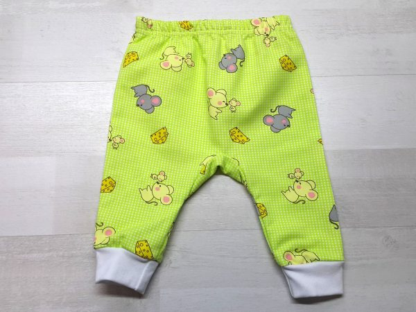 Штаны с ластовицей для малышей тёплые зеленые с мышками