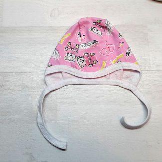 Чепчик на завязках (футер) розовый