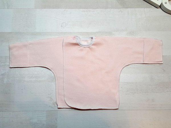 Распашонка тёплая на кнопке с царапкой розовая с пшеном
