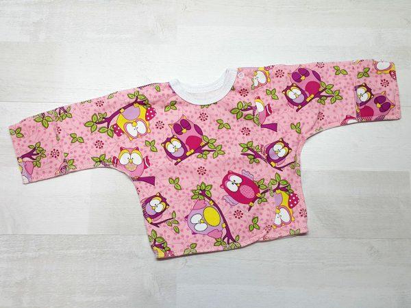 Распашонка тёплая на кнопке с царапкой розовая с совами