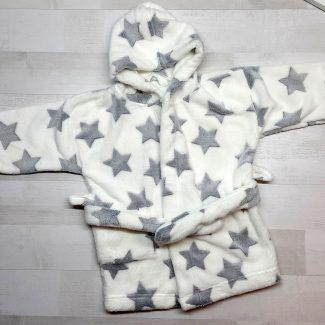 Халат купальный евромахра белый с серыми звездами