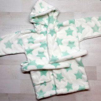 Халат купальный евромахра белый с зелеными звездами