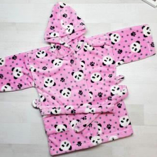 Халат купальный евромахра розовый с пандами