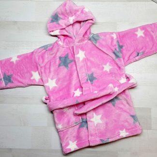 Халат купальный евромахра розовый со звездами