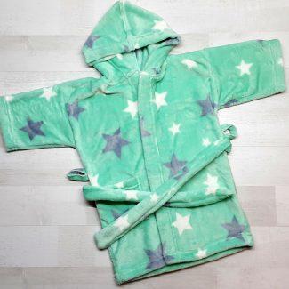 Халат купальный евромахра зеленый со звездами