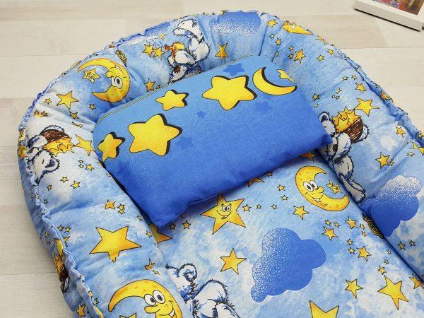 Кокон-гнёздышко с подушкой голубой 1