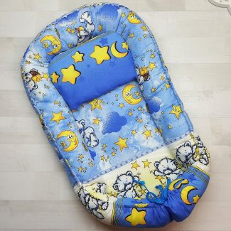 Кокон-гнёздышко с подушкой голубой