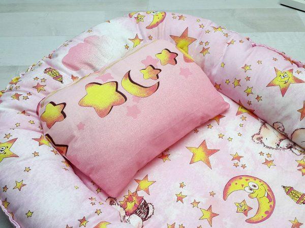 Кокон-гнёздышко с подушкой розовый 1