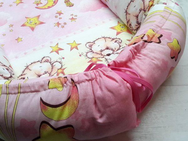 Кокон-гнёздышко с подушкой розовый 2