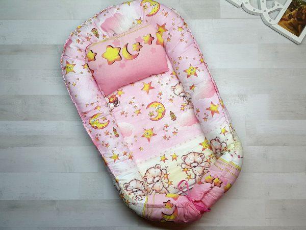 Кокон-гнёздышко с подушкой розовый