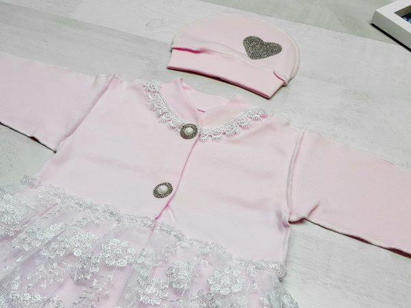 Комбинезон «Балеринка» c шапочкой розовый 2