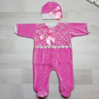 Комбинезон велюровый с шапочкой розовый