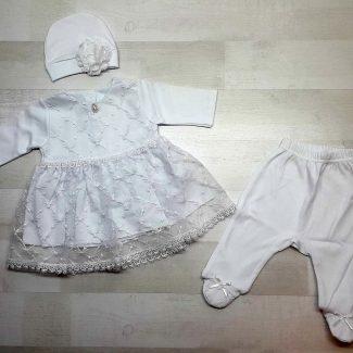 Комплект платье, ползунки, шапочка белые