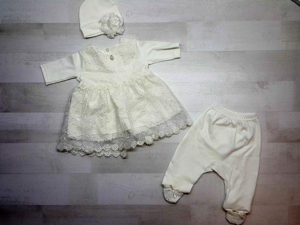 Комплект платье, ползунки, шапочка бежевые