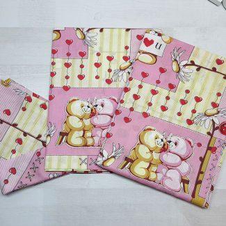 Комплект постельного белья розовый с сердечками