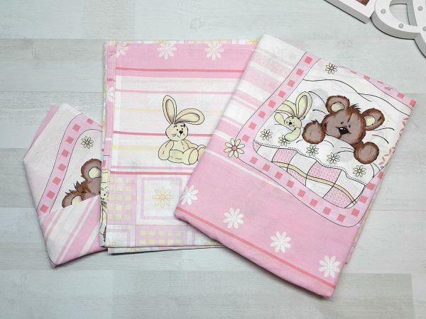 Комплект постельного белья с мишкой и зайкой