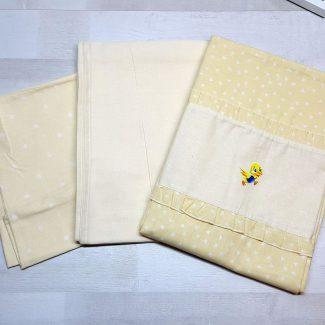 Комплект постельного белья жёлтый с сердечками