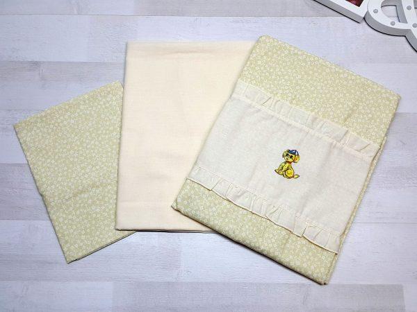 Комплект постельного белья жёлтый с цветами