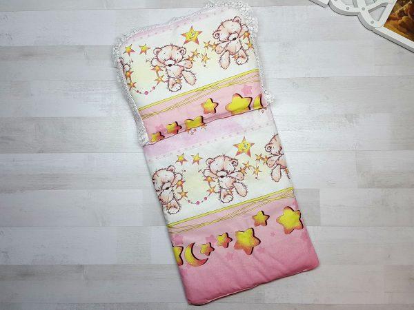 Комплект в коляску с принтом розовый с мишками