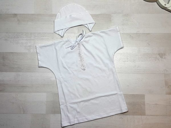 Крестильная рубашка с шапочкой белая