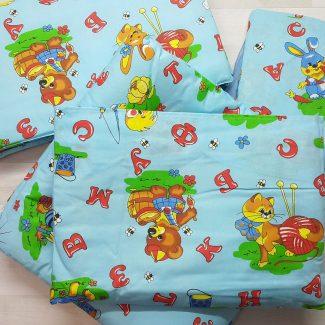 Набор в кроватку (7 предметов) голубой с буквами
