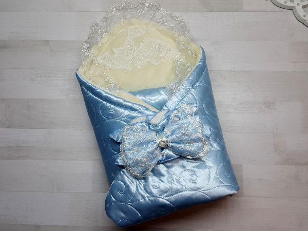 Одеяло-конверт евромахра голубое с фиксатором
