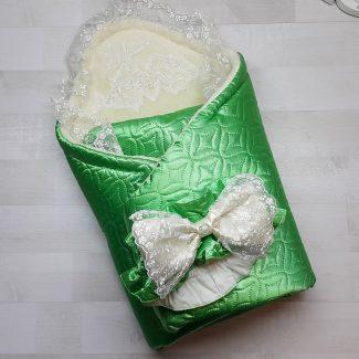 Одеяло-конверт евромахра зеленое с фиксатором