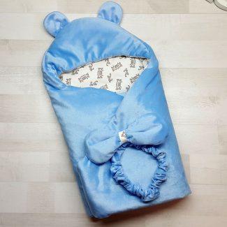 Одеяло-конверт с резинкой-фиксатором голубое