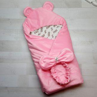 Одеяло-конверт с резинкой-фиксатором розовое