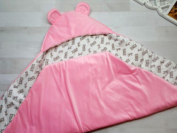 Одеяло-конверт с резинкой-фиксатором розовое в развороте